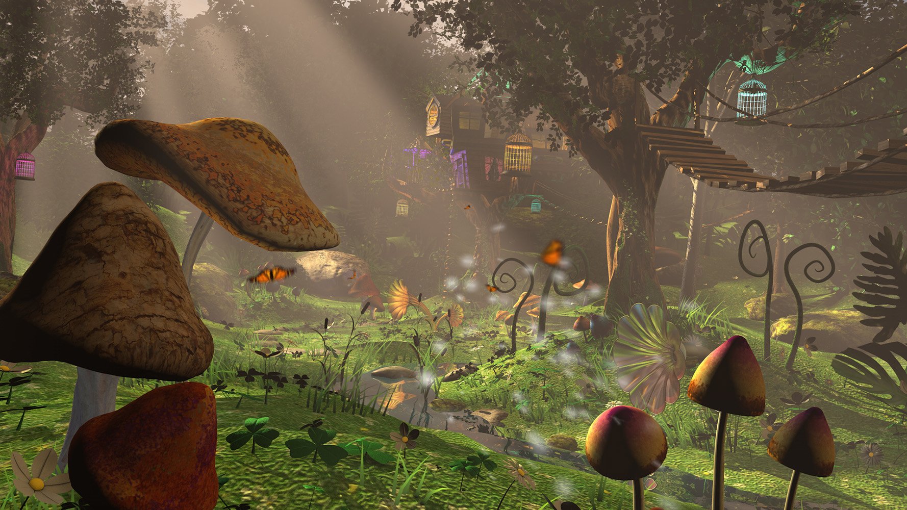 Altered TV motion graphics studio, London, crystal CG 3d render Club Disney magical forest