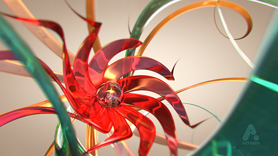 abstract image created in Cinema4D, altered.tv london, design animation